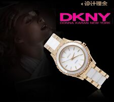 DKNY WOMEN'S LUXURY CERAMIC 2 TONES COLLECTION WATCH NY8829