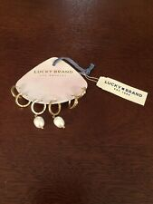 lucky brand gold tone earrings set hoop pearl diamond imitation new with tags