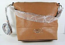 Guess NWT $128 Satchel Large Shoulder Bag Cognac Crossbody Gold Studs Top Zip