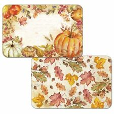 Watercolor Harvest Pumpkins Autumn Fall Reversible Plastic Placemat Set of 4