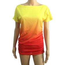 Damen Sommer Tops T Shirt Kurzarm Bunt Tee Hemd Blusen Locker Oberteil neu