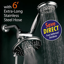 HotelSpa Rainfall Shower Head 3-Way Combo with 6 ft. Hose