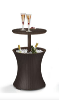 Drink Cooler Patio Table Cool Bar 7.5 Gal. Resin Rattan Outdoor Furniture BBQ