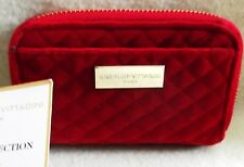New Adrienne Vittadini Double Zip Wallet with RFID Protection Quilted Red Velvet