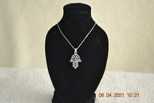 HANDMADE IN ISRAEL, SILVER HAMSA PENDANT WITH EILAT STONE - ONE OF A KIND