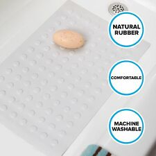 Medium Rubber Bath Safety Mat by SlipX Solutions: White In-Tub Suction Cup Mat