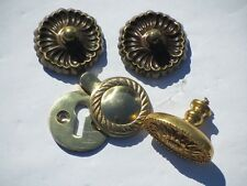 4 Vintage Solid Brass Door Handles & Key Hole Covers