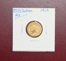 1914 US 2 1/2 Dollar Quarter Eagle Gold Coin $2.50 Indian AU High Grade!