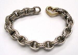 "Scott Kay Signed Sterling Silver Link Bracelet w 14K Gold Heart Clasp - 7.5"""