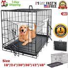 Dog Crate Kennel XXL 48 /42 /36 /30 Folding Pet Cage Metal Single Door Tray Pan
