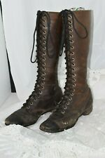 Antique Early 1900's Ladies Tall Lace Up Boots Shoes Leather