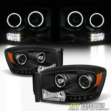 Black 2006-2008 Dodge Ram 1500 2500 3500 LED Halo Projector Headlights Headlamps