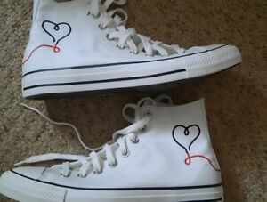 Converse Chuck Taylor High Tops -  With Love Print - Off White - Size 7.5