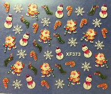 Nail Art 3D Decal Stickers Christmas Snowman Santa Candycane Snowflakes XF373