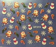 Nail Art 3D Decal Stickers Christmas Snowman Santa Candycane Snowflakes XF373