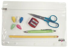 School Smart Vinyl Zippered Ring Binder Pouch, 7 x 10 in, Clear Vinyl, Pack o...