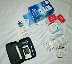 OneTouch Verio IQ Blood Glucose Monitoring Meter Lancet strips Charger lot
