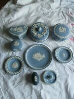 Joblot Wedgwood Blue Jasperware Ring Stand Plate Pin Dishes Egg Lidded Boxes x 9