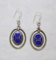 Asian Tribal Ethnic sterling silver earrings Asian Lapis jewelry Handmade E8