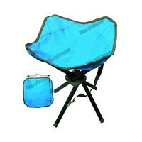 4 LEGS PORTABLE FOLDING CAMPING STOOL CHAIR SEAT HIKING FOR BBQ&FISHING (BLUE)