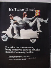 1968 Coca-Cola Coke Soda Twice-Time Couple on Scooter Vintage Print Ad 10423