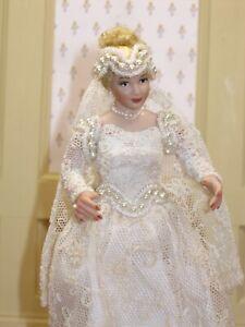 Patsy & Lynn Thomas Porcelain Bride Doll in Lace Artisan Dollhouse Miniature