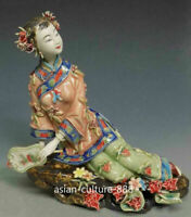 "9"" Chinese Ceramic Figurine Wucai Porcelain Flower Classical Beauty Dream Lady t"