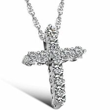 Rhinestone Paved Cross Pendant Necklace Ladies Women's Christmas Birthday Gifts