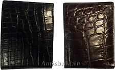 2 New Crocodile Skin Printed Leather man's bi fold wallet 2 billfolds 6 card ID