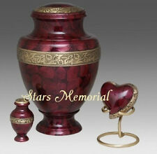 Crimson Red Adult Cremation Urns, Crimson - Brass,  ALL 3 ~ Free Shipping!!