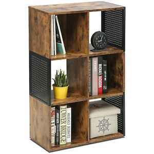 FITUEYES Bookcase with Open Storage Wood Matchwood Metal Mesh 93x59.6x29.8cm