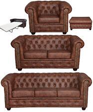 Chesterfield 3 + 2er Sitzer + Sessel + Hocker + Bett INDUSTRIE BRAUN LEDER LOOK!