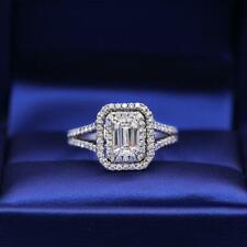 Emerald Cut Double Halo 1.00 Ct Diamond Engagement Wedding Ring 14K White Gold
