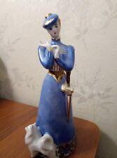 The lady with the dog Pomeranian Spitz Russian DULEVO porcelain figurine 45m u