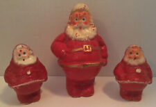 Vintage Paper Mache Santa Candy Container Lot Of 3 Christmas Decorations