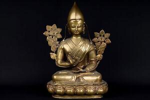 Tibet 20. Jh Sculpture - A Tibetan Bronze Figure Of Tsongkhapa Tibetano Tibétain