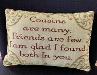 Cousin Sentimental Decorative Tapestry Word Throw Pillow Gift Idea