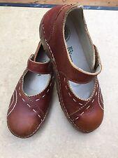 El Naturalista Wood Brown Leather Mary Jane Yggdrasil Heels Clogs Sz 37 US 7 M