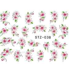 NAIL ART STICKERS WATER DECAL NAIL TRANSFER WRAPS PINK FLOWER FLORAL CUTE STZ038