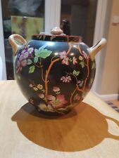 Beautiful Old Chinese Famille Noir Vase Urn Jar With Top