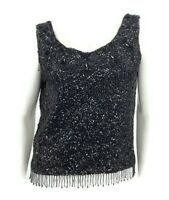 VTG Buffums Sleeveless Beaded Tank Top Black Sequins Fringe Wool Zippered