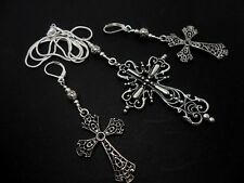 "A LARGE MADONNA STYLE  CROSS NECKLACE & LEVERBACK EARRING SET.18"" LONG. NEW."