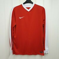 Nike Dri Fit Mens Red And White Long Sleeve Football Top Size Large Training Gym