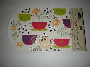 Set of 2 Colorful Coffee Cups & Flowers Deluxe Vinyl Placemats - NEW with Tags