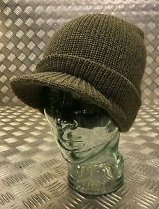 Genuine US Army Green / OD Peak Radar Hat / Peaked Watch Cap 100% Wool - NEW