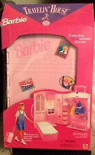 💕1995 Barbie Traveling House Trunk Rolling Luggage Playhouse Extending Handle