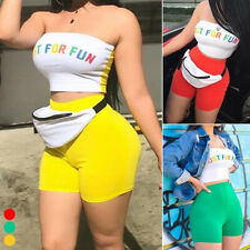 Women Two Piece Set Sexy Crop Top And Short Tracksuit Outfits For Spring Summer