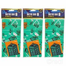 New 3 Doctor Who Gift Wrap Sets Birthday Tags Wrapping Paper TARDIS Official