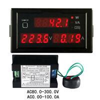 AC 110V - 220V Digital LED 100A Watt Power Meter Volt Amp Ammeter Voltmeter + CT