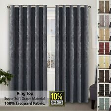 Jacquard Curtains Pair Fully Lined Eyelet Ring Top With Tie Backs 66x72 90x90